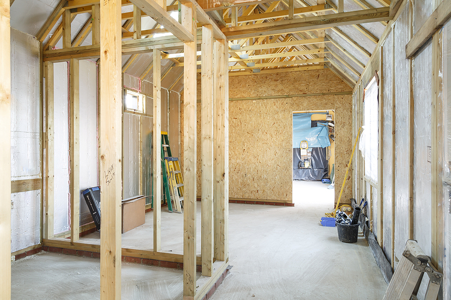modern timber house construction with rigid insulation boards