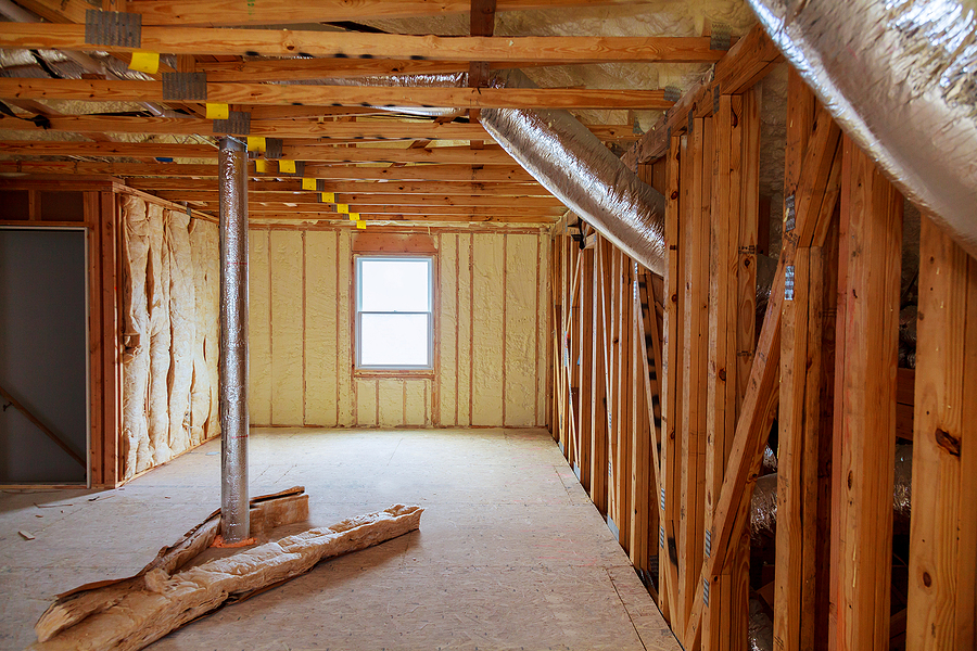 foam plastic insulation of a new home